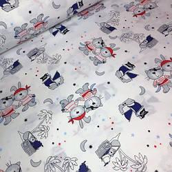Ткань хлопок 100% с  пиратами в синих и красных банданах № 529