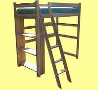Кровать-чердак деревянная ЗНАЙКА с полками для книг (80х190 см)