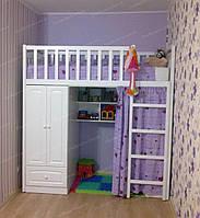 Кровать-чердак деревянная РАДУГА с полками и шкафом (80х190 см)