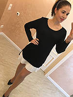 """Женское, трикотажное платье-туника с длинными рукавами """"Плиссированная вставка""""  фабричный Китай! РАЗНЫЕ ЦВЕТА"""