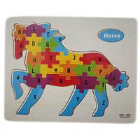 Обучающая деревянная доска, рамки вкладыши, пазл, конь