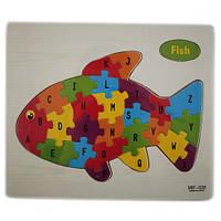 Обучающая деревянная доска, рамки вкладыши, пазл, рыбка