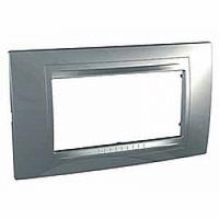 Внешняя рамка четырехмодульная Schneider Unica Allegro MGU4.104.60, цвет: серебро