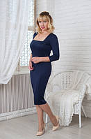Женское платье Софи  классическое, деловое, модное  размер  44, 46, 48, 50, 52, 54, 56 темно синее