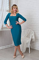 Женское платье Софи  классическое, деловое, модное  размер  44, 46, 48, 50, 52, 54, 56 бирюзовое