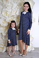 Family look! Романтичное платье мама дочка (свободный крой, удлинненая спинка, декор -  белый галстук бабочка)