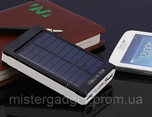 Солнечный Powerbank Внешний аккумулятор для телефона мощный фонарик, черный Solar 25000 mAh, фото 2