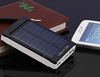 Солнечный Powerbank Внешний аккумулятор для телефона мощный фонарик, черный Solar 25000 mAh