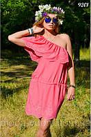 Однотонное розовое платье из натуральной ткани