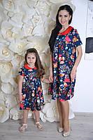 Family look! Забавное платье мама дочка (поливискоза, свободный крой, встречная складка)