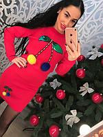 """Хит сезона! Вязаный, женский костюм с юбкой """"Вишенка, декорирован мехом и пайетками"""" РАЗНЫЕ ЦВЕТА"""