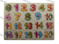 Обучающая деревянная доска Сегена, рамки вкладыши, цифры 1