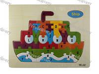Обучающая деревянная доска, рамки вкладыши, пазл, корабль