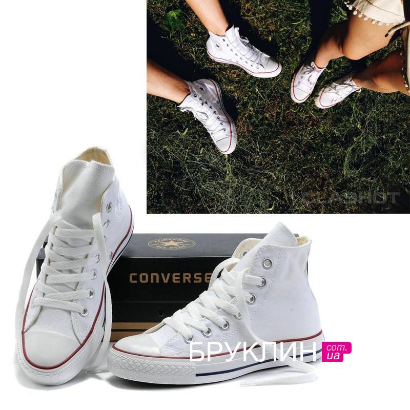Мужские высокие кеды Converse All Star белые   кеды мужские Конверс    Конверсы белые 435125eca0640