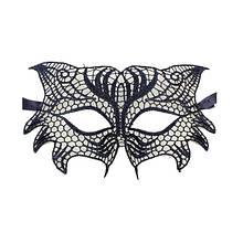 Карнавальная черная маска из кружев Сова