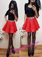 Модная женская юбка (мемори коттон, пышная, глубокие склады, длина мини) РАЗНЫЕ ЦВЕТА!