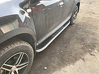 Renault Duster 2008+ гг. Боковые площадки Tayga V2 Grey (2 шт., алюминий)