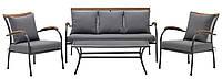 Комплект мягкой садовой мебели сталь/хардвуд (2 кресла + столик + 2-х местный диван)