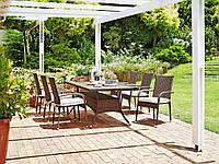 Комплект плетеной садовой мебели (4 стула из иск. ротанга со спинками  + стол 200 см из иск. дерева)