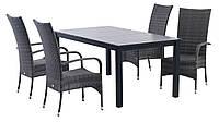 Комплект плетеной садовой мебели (4 стула из иск. ротанга со спинками  + стол 95x170/252см)