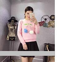 """Модный, женский свитерок, декорирован мехом """"Вишенка"""" фабричный Китай РАЗНЫЕ ЦВЕТА"""