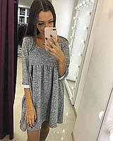 Стильное трикотажное платье (вязка акрил, рукава 3/4, клеш от груди, мелкие склады, длина мини)