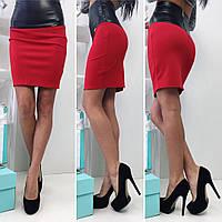 Модная трикотажная юбка (дайвинг, экокожа, юбка-карандаш, длина выше колен, декор, молния) РАЗНЫЕ ЦВЕТА!