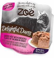 Zoe DELIGHTFUL DUETS PETE консервы для кошек (КУРИЦА И ЛОСОСЬ В СОУСЕ), 80 г