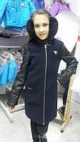 Стильное кашемировое пальто для девочки Baby Angel 698, цвет синий