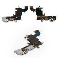 Шлейф для мобильного телефона Apple iPhone 6S, серый, коннектора зарядки, коннектора наушников, с микрофоном, с компонентами