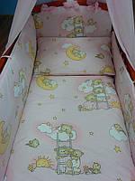 """Детская постель в кроватку """"Мишки на лестнице"""" розового цвета ( 8 ед. ) №39"""