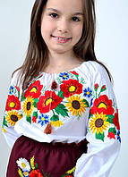 """Дитяча сорочка вишиванка біла """"Серпневі барви"""""""