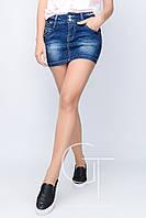Стильная короткая джинсовая юбка с бусинами Freedom jeans 22907