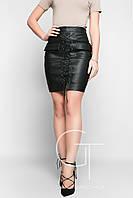 Модная кожаная юбка на шнуровке Evental 25045