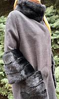 Женское кашемировое пальто с мехом норки