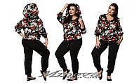 Женский спортивный костюм дайвинг кофта в цветы размеры: 50-56