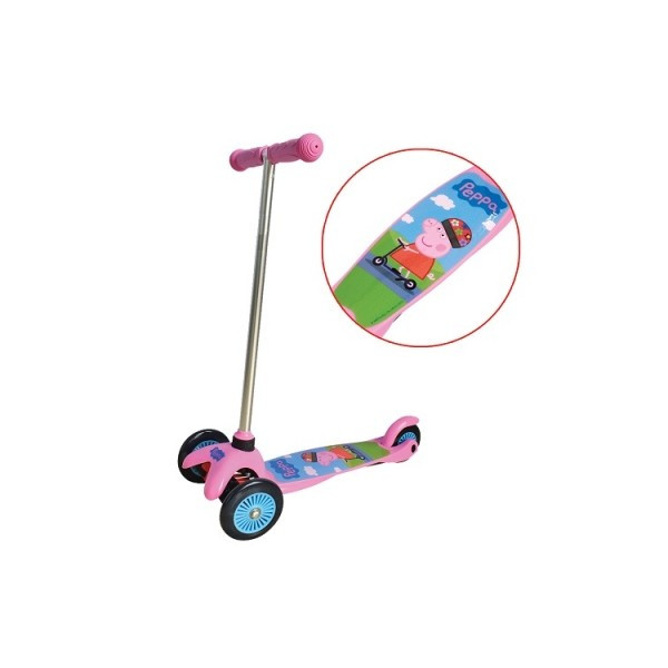 Скутер детский лицензионный Peppa 3-х колесный 2 колеса впереди тормоз