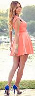 Красивое мини платье «Долли», бенгалин, размеры, юбка в складку, молния на спинке