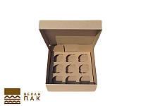 Коробка для капкейков, кексов и маффинов 9 шт 260*260*90 (бурая)