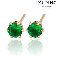 Серьги 90145 размер 5*5 мм, зеленые камни, позолота РО, фото 1