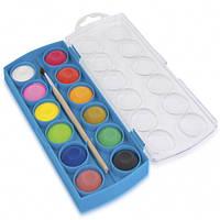 Краски акварельные с кисточкой, маленькие 12 цветов Colorino