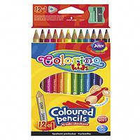Карандаши цветные + точилка в контейнере 12 цветов+1 Colorino