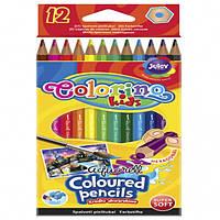 Карандаши акварельные + кисточка для рисования 12 цветов Colorino