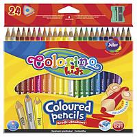 Карандаши цветные и точилка в контейнере, трехгранные 24 цвета  Colorino