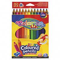 Карандаши цветные трехгранные/ круглые Jumbo 12 цветов  Colorino
