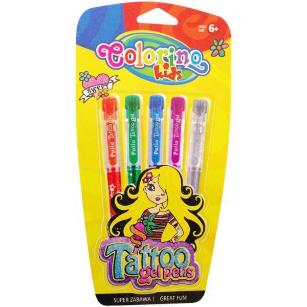 Гелевые ручки-тату с трафаретами 5 цветов Colorino