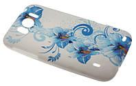 Силиконовый чехол для HTC Sensation XL синие цветы
