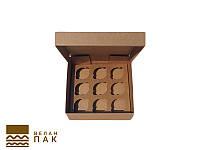 Коробка для капкейков, кексов и маффинов 9 шт 260*260*90 (крафт)