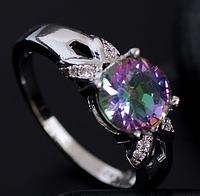 Женское кольцо с мистик топазом