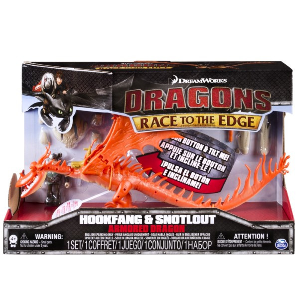 Как приручить дракона 2: дракон Кривоклык в броне с всадником Сморкалой